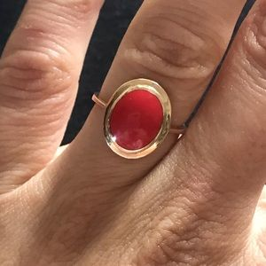 Gold ring with natural coral stone